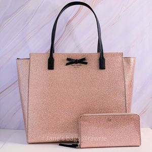 New Kate Spade Rose Gold Glitter Tote & Wallet Set